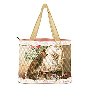 """Fairest Of Them All"" Quilted Tote With Golden Heart Charm"