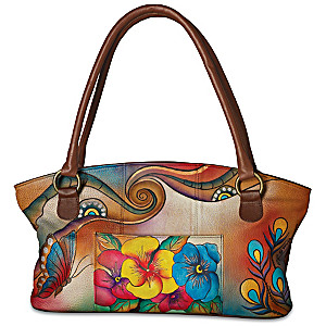 "Roma Basu Hand-Painted ""Garden Sunrise"" Designer Handbag"