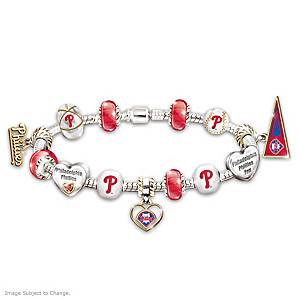 Philadelphia Phillies Charm Bracelet With Swarovski Crystal