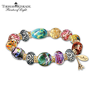 "Thomas Kinkade ""Colors Of Paris"" Art-Glass Beaded Bracelet"