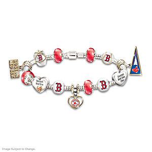 Boston Red Sox Beaded Charm Bracelet With Swarovski Crystals