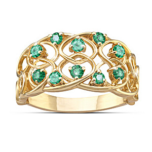 """""""Celtic Lace"""" Emerald Ring With 18K Gold Plating"""