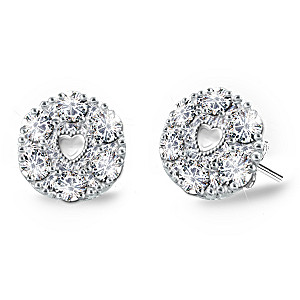 """Precious Daughter"" Sterling Silver Diamond Earrings"