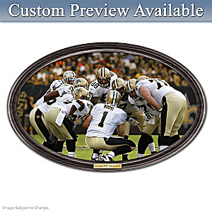Saints Framed Wall Decor With Your Name On QB's Jersey