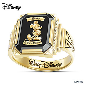 Mickey Mouse Retro-Style Commemorative Ring With Wooden Case