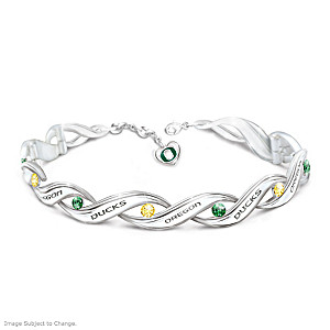 """University of Oregon Pride"" Bracelet With Logo Heart Charm"