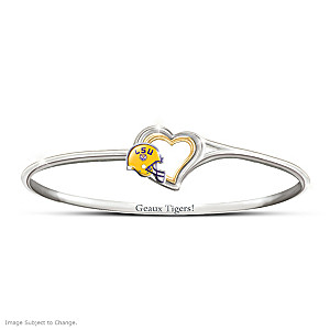 """Geaux Tigers!"" Engraved Bangle Bracelet"