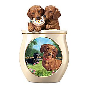 Linda Picken Dachshund Art Ceramic Cookie Jar, Sculpted Lid