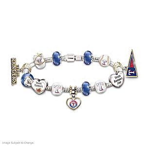 Texas Rangers Charm Bracelet With Swarovski Crystal