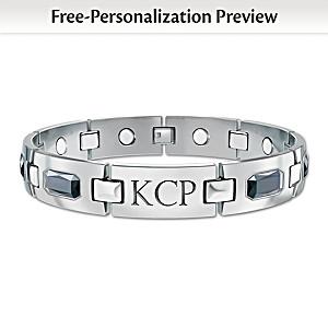 """""""Optimum"""" Men's Titanium Magnetic Monogrammed Bracelet"""