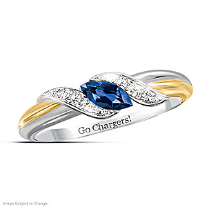 """Pride Of San Diego"" Blue Sapphire And Topaz Embrace Ring"