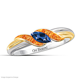 """Pride Of Chicago"" Blue Sapphire Engraved Embrace Ring"