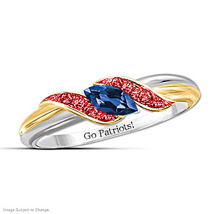 """Pride Of New England"" Blue Sapphire And Ruby Embrace Ring"