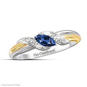 """Pride Of Dallas"" Blue Sapphire And White Topaz Embrace Ring"