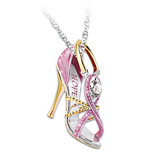 "Breast Cancer Awareness ""Step Out For Hope"" Pendant Necklace"