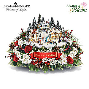 Thomas Kinkade Lighted Floral Holiday Village Centerpiece