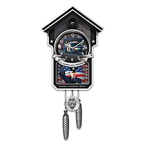 """Police """"Serve And Protect"""" Wall Clock With Car And Siren"""