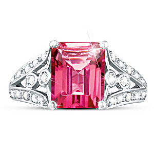 """Luxury"" Pink Topaz & 12 Diamond Sterling Silver Ring"