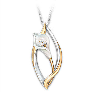 """""""Heaven's Promise"""" Lily Remembrance Pendant With Crystals"""
