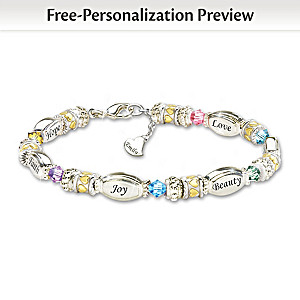 Daughter Bracelet With Name-Engraved Charm And Crystals