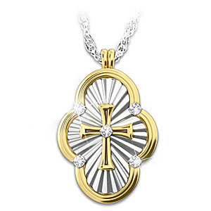 """A Saint's Love Of Faith"" Diamond Cross Pendant Necklace"