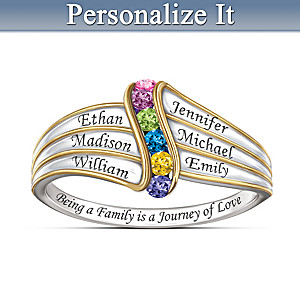 Journey Of Love Name-Engraved Ring With Crystal Birthstones