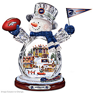 Denver Broncos Crystal Snowman With Moving Train