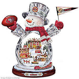 San Francisco 49ers Crystal Snowman With Moving Train