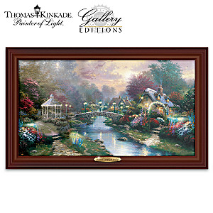 Thomas Kinkade Beyond Lamplight Bridge Lighted Canvas Print
