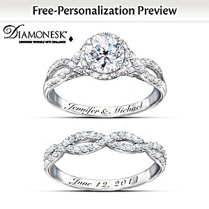 entwined diamonesk bridal rings with personalized engraving - Personalized Wedding Rings