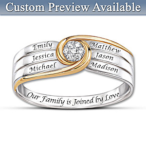 """Joined In Love"" Personalized 7-Diamond Family Engraved Ring"