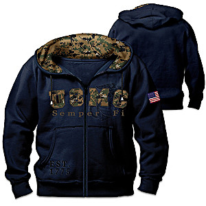 Semper Fi Men's Hoodie With USMC Digital Camo-Inspired Print