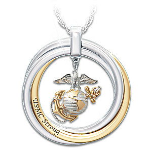 """USMC Strong"" Pendant Necklace With Engraved Rolling Rings"