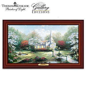 "Thomas Kinkade ""Hometown Chapel"" Illuminated Canvas Print"