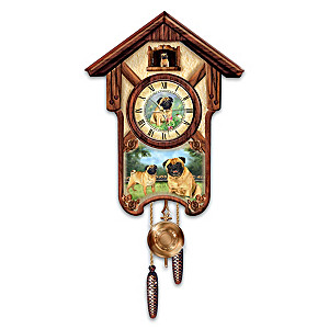 "Linda Picken ""Playful Pugs"" Wall Clock"
