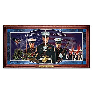 A Tradition Of Honor USMC Illuminated Stained-Glass Panorama