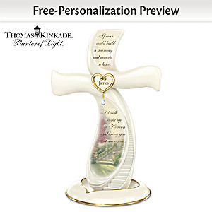 "Thomas Kinkade ""Memories Of Love"" Porcelain Cross With Name"