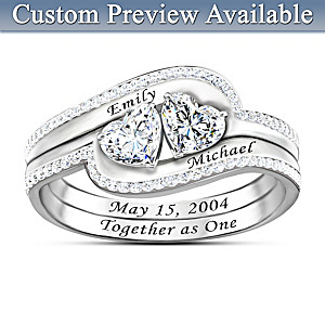"Personalized ""Together As One"" White Topaz Ring"