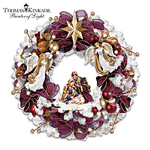 """Christmas Blessings"" Illuminated Nativity Wreath"