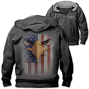 """""""Proud And Free"""" Men's Hoodie With Bald Eagle And Old Glory"""