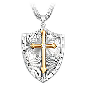 """Strength In The Lord"" Men's Shield Diamond Pendant Necklace"