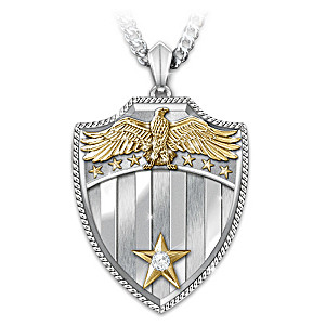 """Free Because Of The Brave"" Diamond Pendant Necklace"