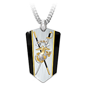"""USMC Semper Fi"" Reversible Shield Pendant Necklace"