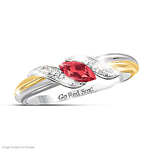 """Pride Of Boston"" Ruby And White Topaz Embrace Ring"