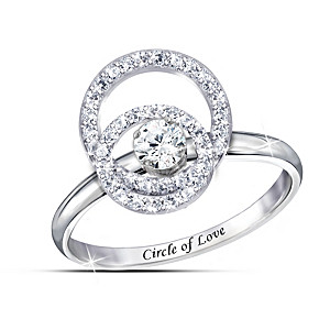 """""""Circle Of Love"""" White Topaz Spinning Ring With Engraving"""