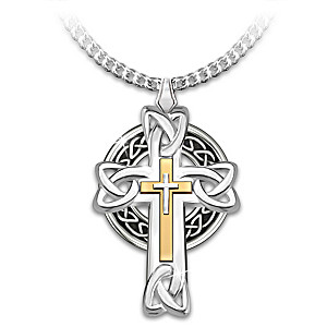 """Celtic Inspiration"" Men's Cross Pendant Necklace"