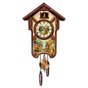"Linda Picken ""Gentle Golden Retrievers"" Wall Clock"