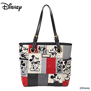 "Disney ""Patches Of Love"" Mickey And Minnie Artistic Tote Bag"