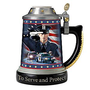 """Code Of Honor"" Heirloom Porcelain Policeman's Tribute Stein"