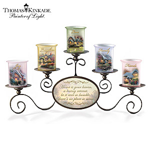 "Thomas Kinkade ""Warmth Of Home"" Hand-Blown Glass Votives"